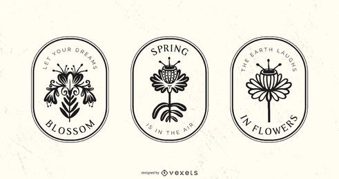 Frühlings-Zierblumen-Abzeichen-Satz