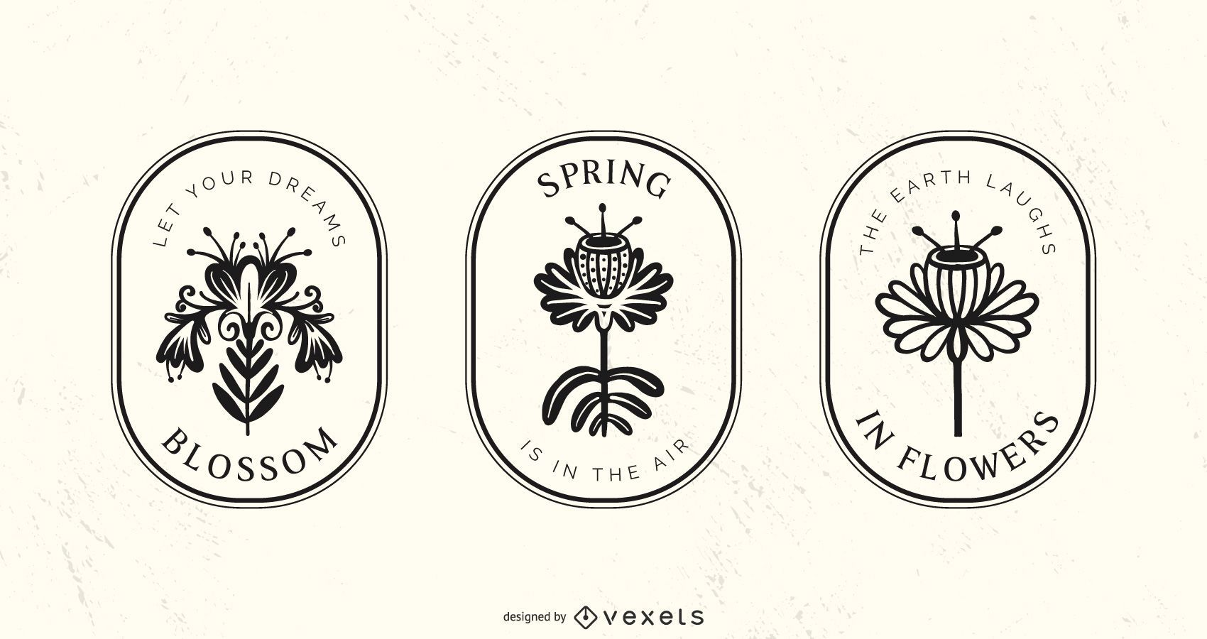 Conjunto de insignias de flores ornamentales de primavera