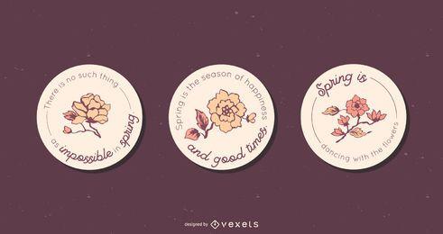 Conjunto de insignia redonda floral de primavera
