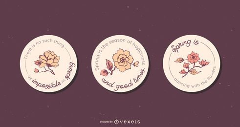 Spring Floral Round Badge Set