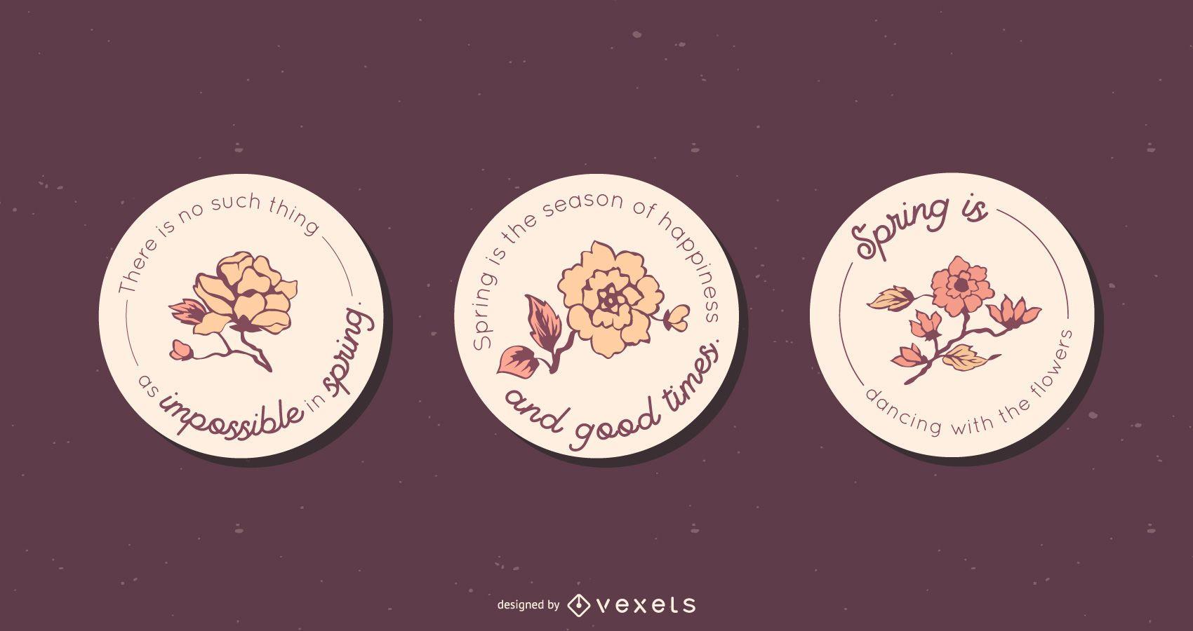 Conjunto de emblemas redondos florais de primavera