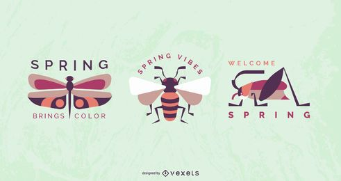 Spring Insect Badge Design Set