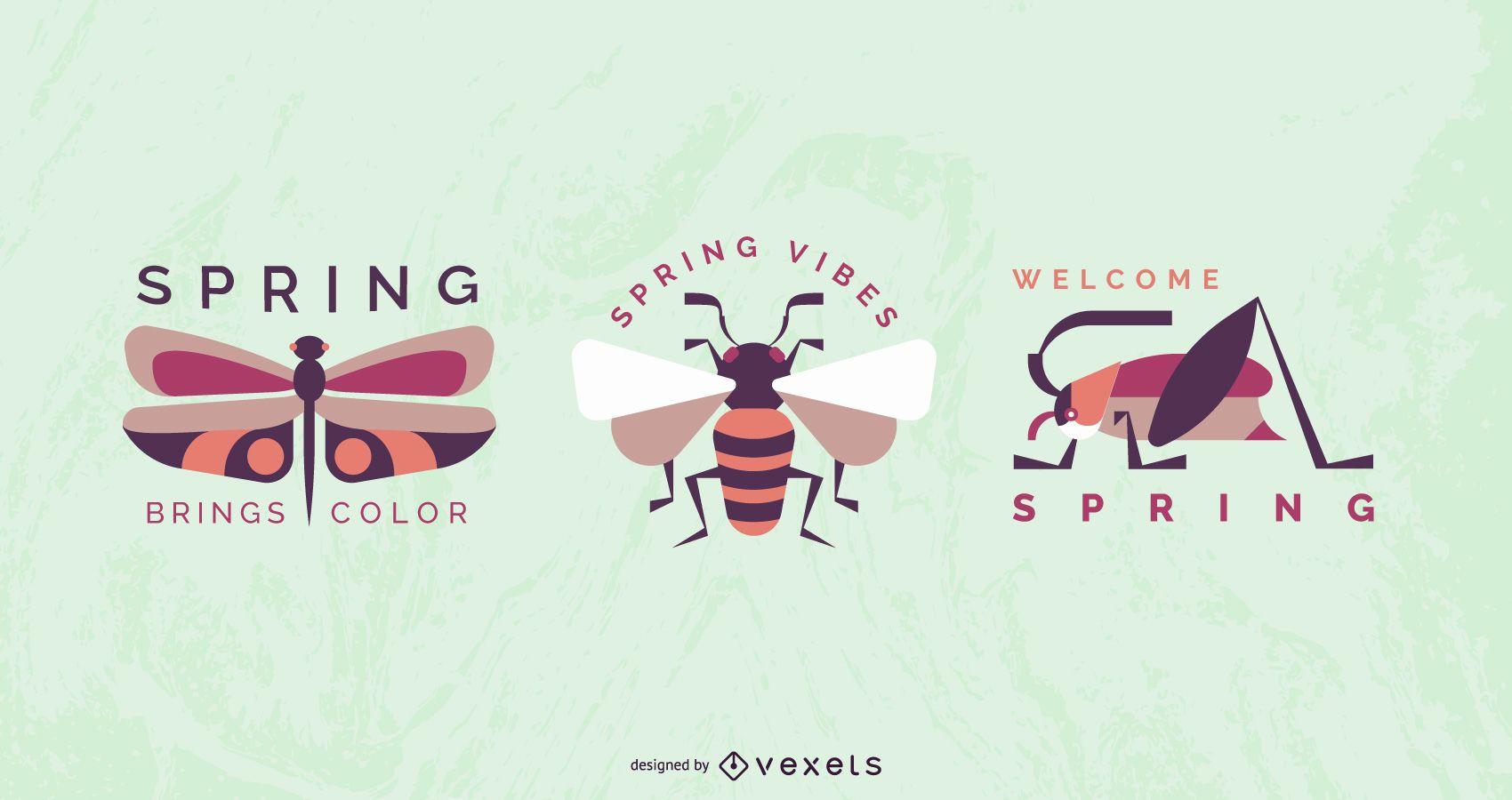 Conjunto de diseño de insignia de insectos de primavera