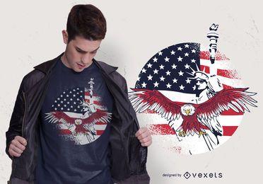 Projeto do t-shirt da liberdade dos EUA