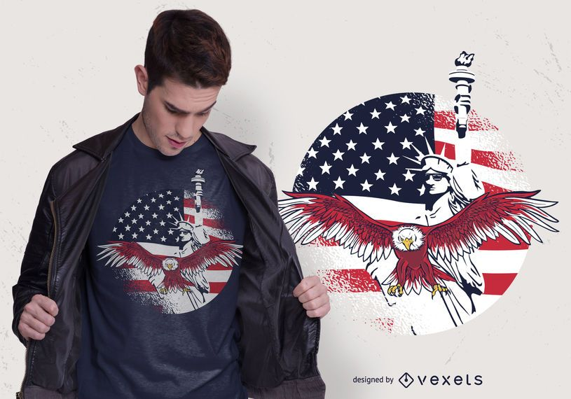 Diseño de camiseta USA Freedom