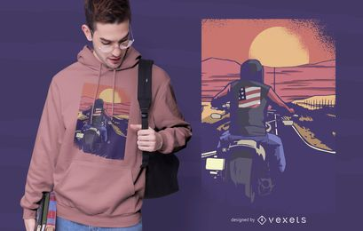 Design de t-shirt de motociclista de estrada