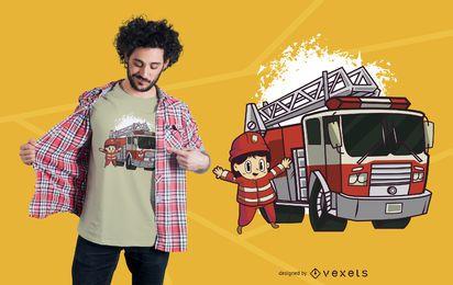 Projeto do t-shirt do sapador-bombeiro do miúdo