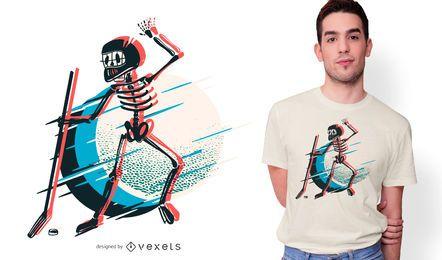 Design de camiseta de hóquei em esqueleto