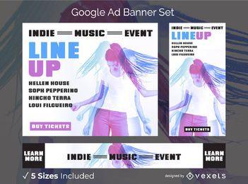 Conjunto de banner de anúncio de evento de música