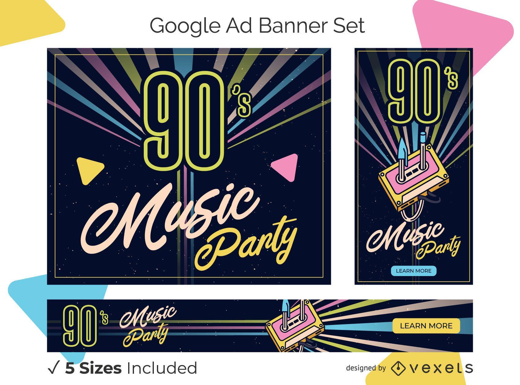 Retro ad banner set