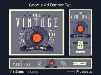 Conjunto de banner de anúncio de vinil vintage
