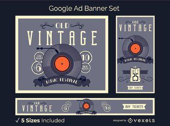 Conjunto de banner publicitario de vinilo vintage