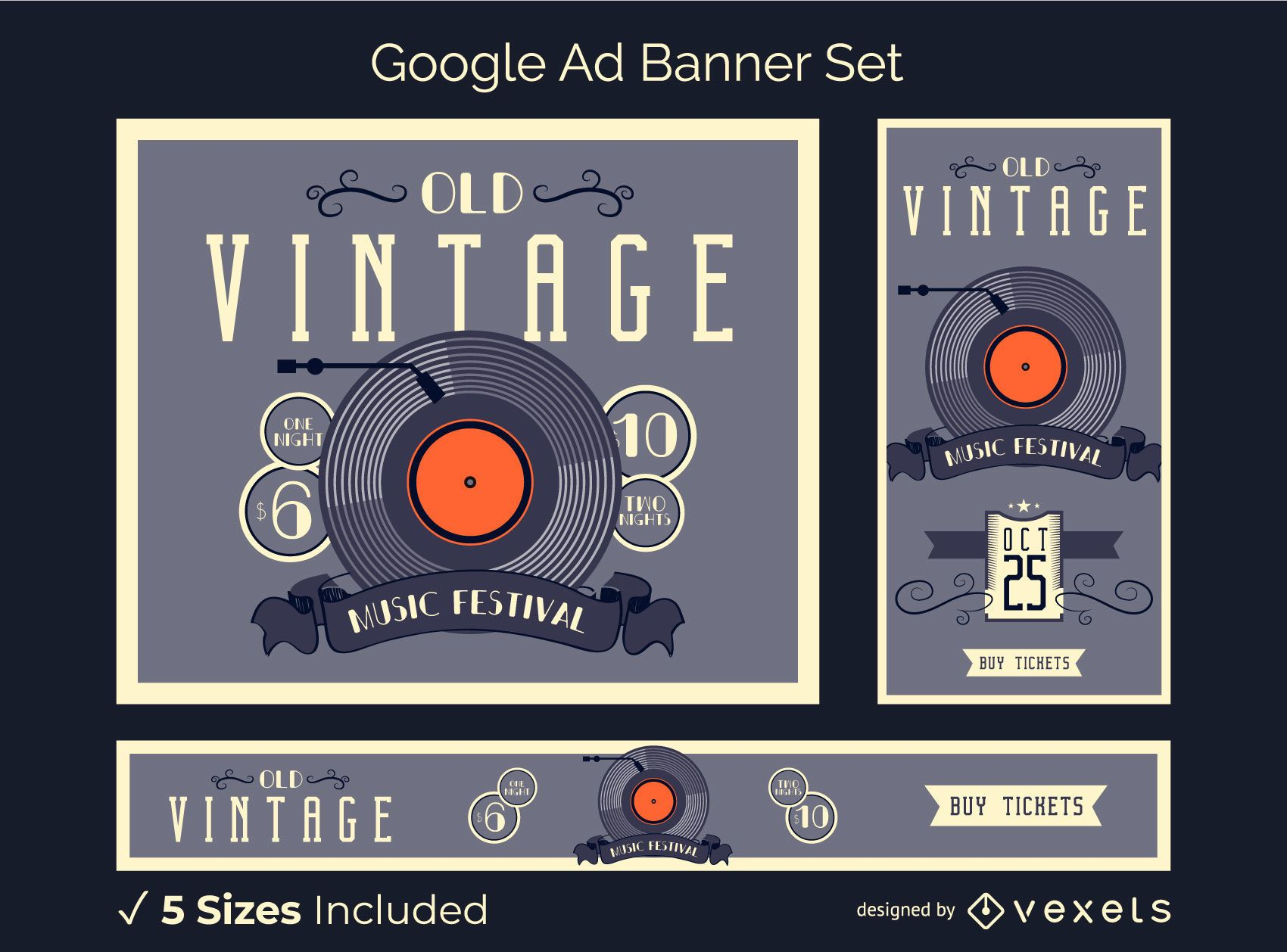 Vintage vinyl ad banner set