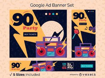 Pacote de design do banner do Google Ads para festa dos anos 90