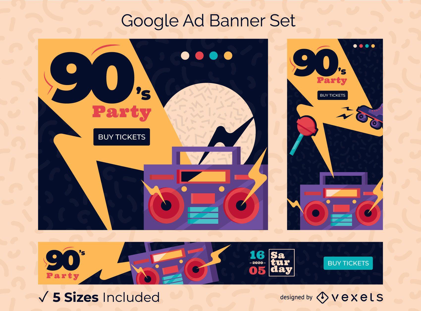 Paquete de diseño de banner de Google Ads para fiestas de los 90