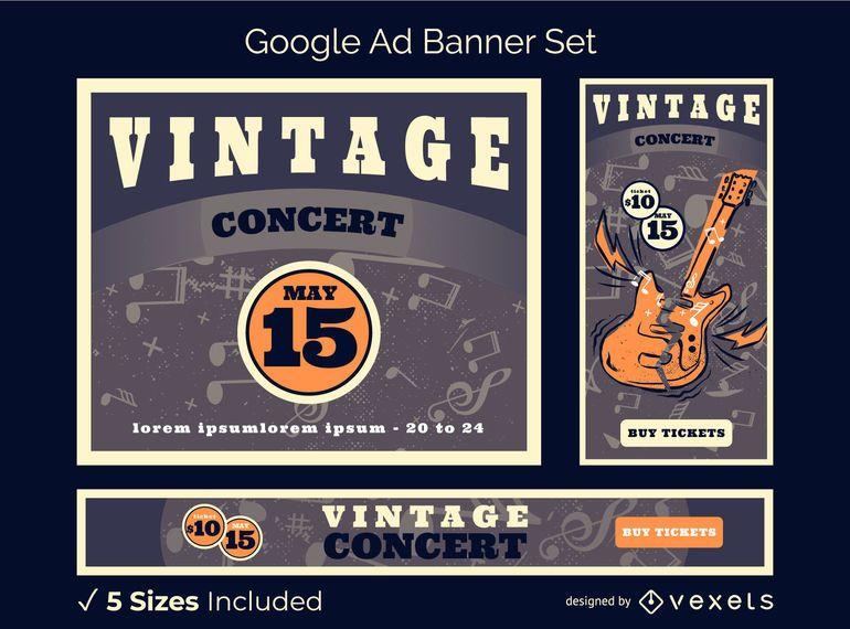 Paquete de banners de Google Ads de conciertos vintage