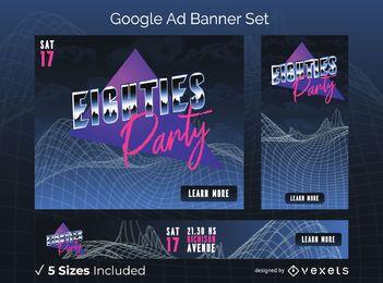 Pacote de banners do Google Ads para festa dos anos 80