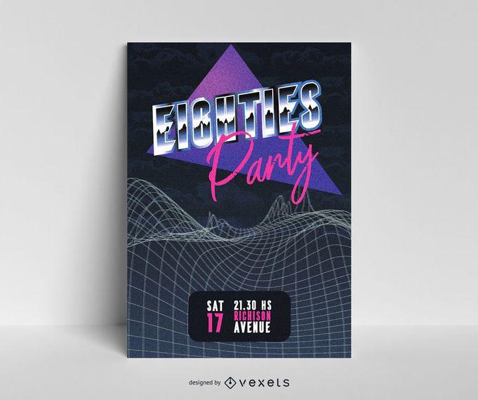 Diseño de cartel retro futurista de los 80