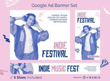 Pacote de banners do Google Ads para festival indie