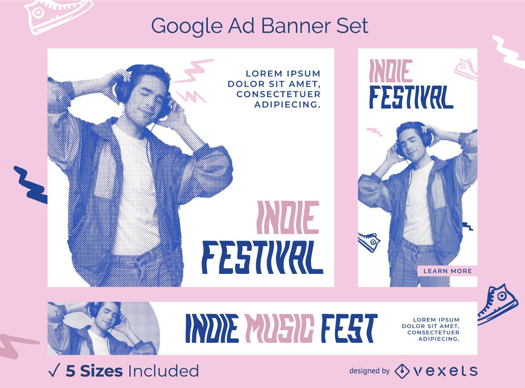 Paquete de banners de anuncios de Google del festival indie