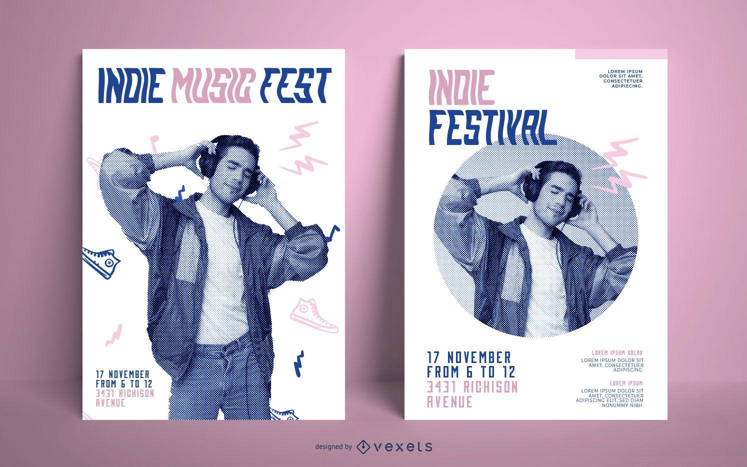 Pacote de pôsteres do festival de música indie