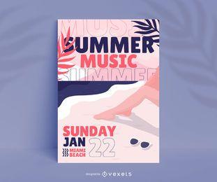Design de cartaz do festival de música de verão