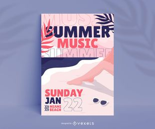 Design de pôster do Summer Music Festival