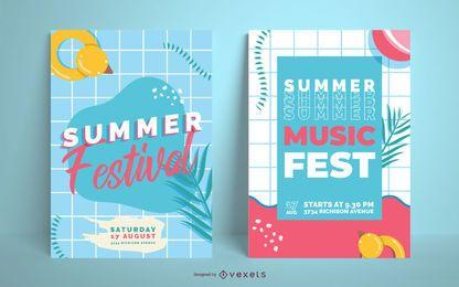 Design de cartaz de festa festival de verão