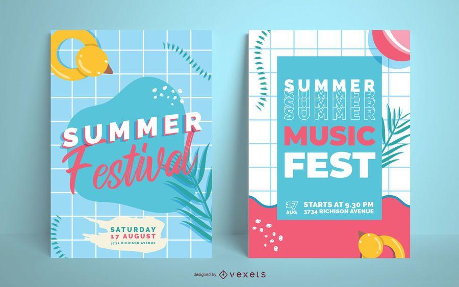 Diseño de carteles de fiesta del festival de verano