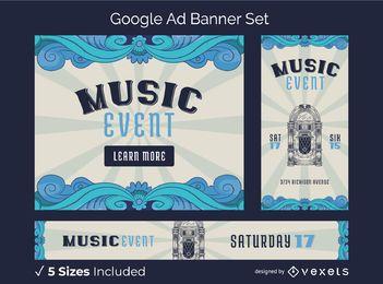 Pacote de banner de anúncios do Google Music Fest do vintage