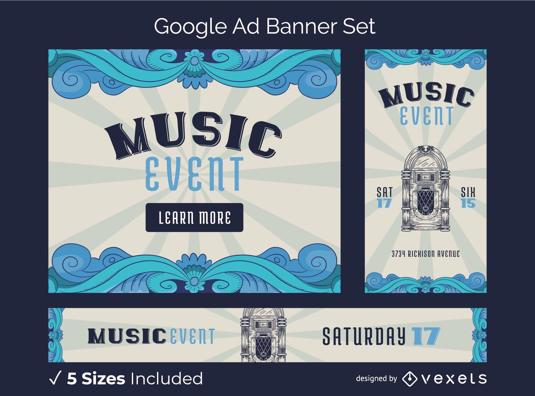 Vintage Music Fest Google Ads Banner Pack