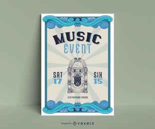 Design de cartaz vintage de evento de música