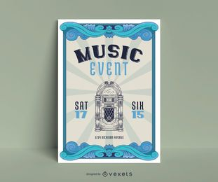 Music Event Vintage Poster Design
