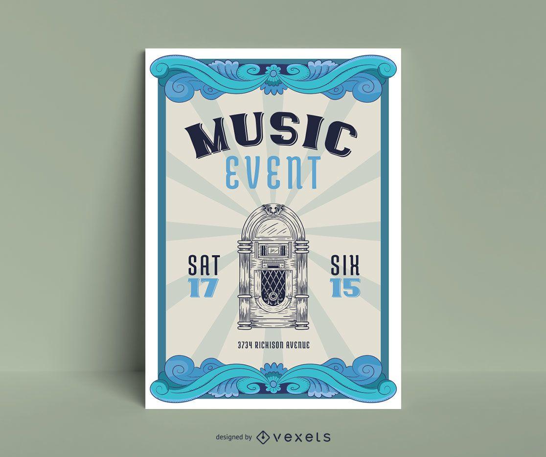 Music Event Vintage Poster Design