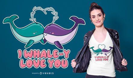 Design de t-shirt de amor de baleia
