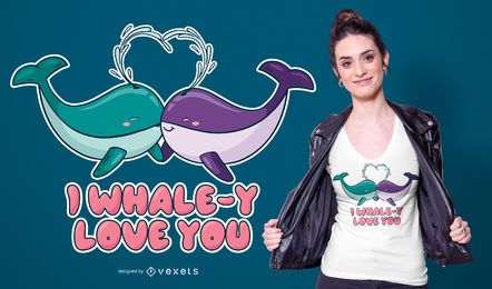 Diseño de camiseta de Whale Love