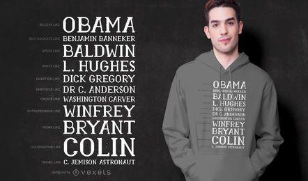 Diseño de camiseta negra de la cita del mes de la historia