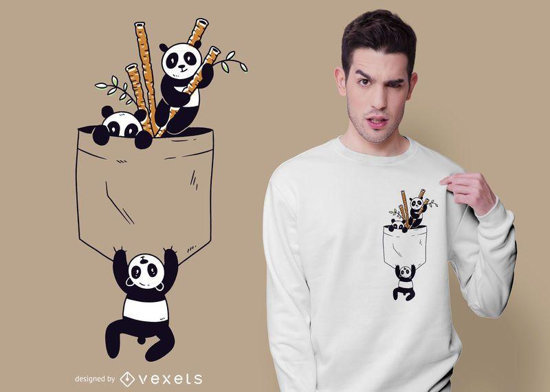 Diseño de camiseta de pandas de bolsillo