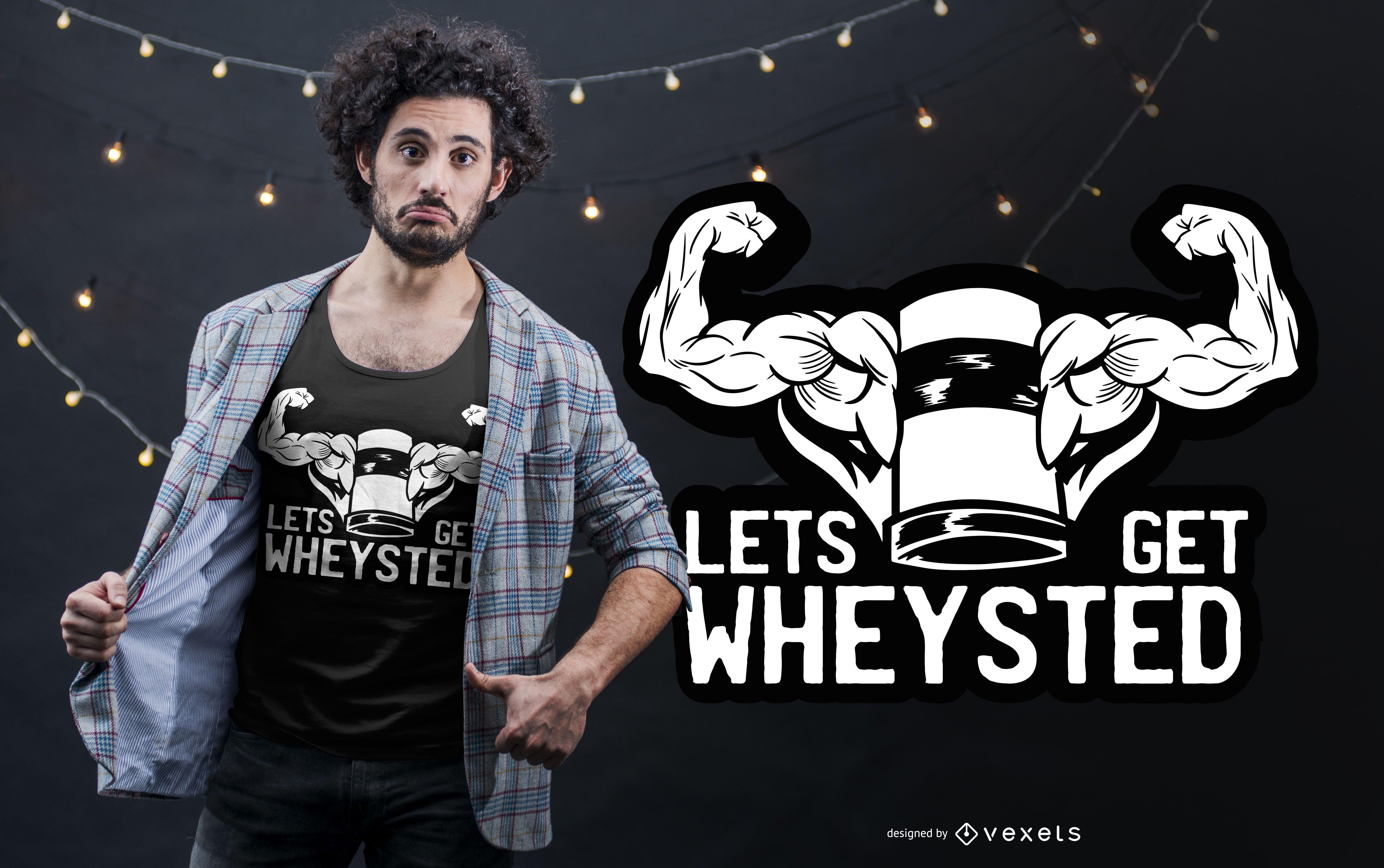 Diseño divertido de camiseta de proteína de suero