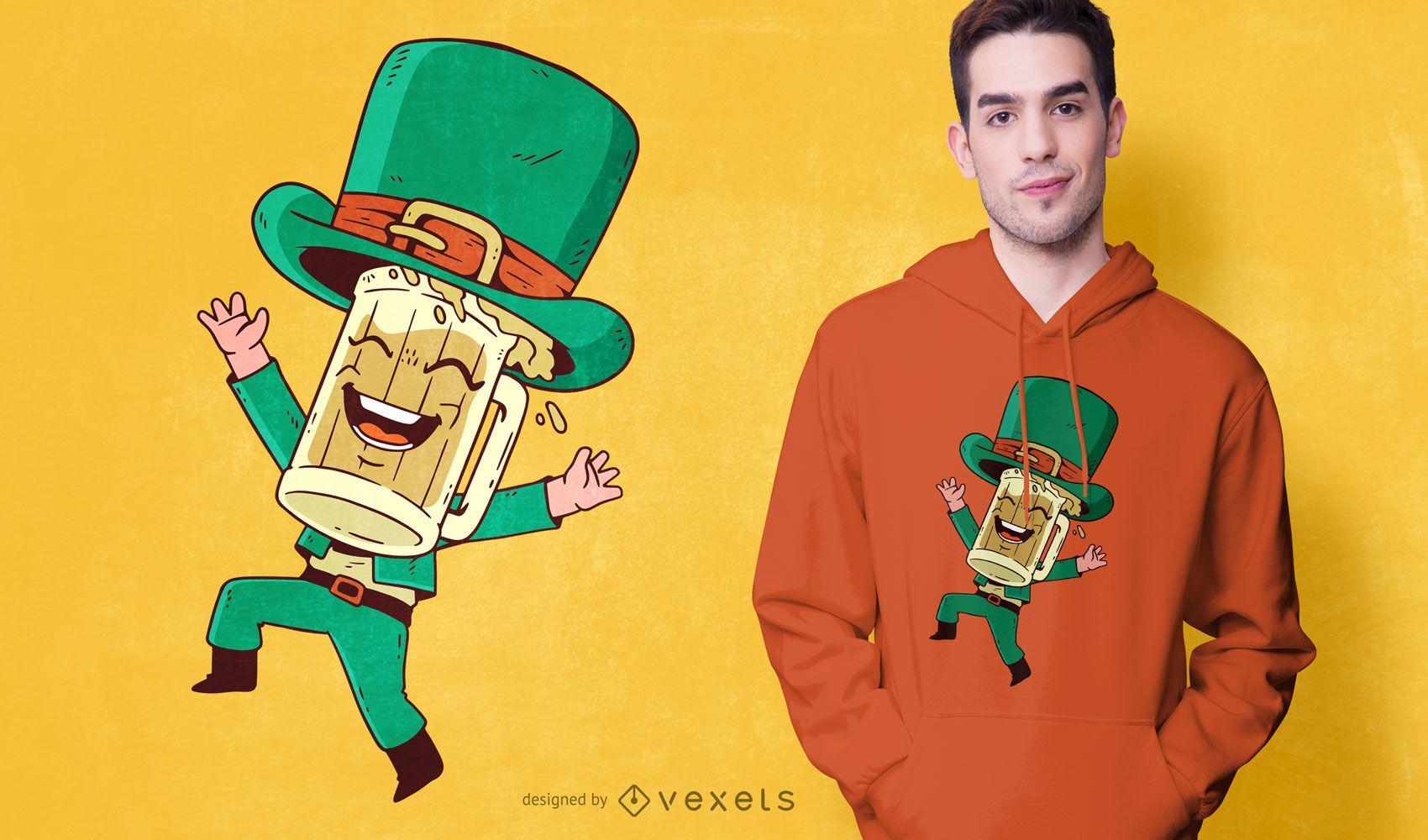 Diseño de camiseta de dibujos animados de cerveza del día de San Patricio