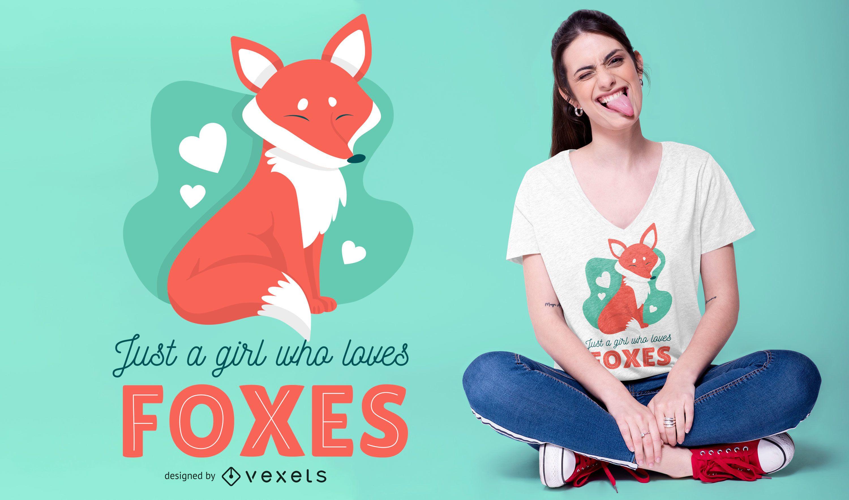 Diseño de camiseta Fox Love Girl Quote