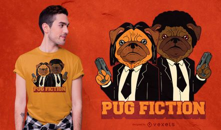 Diseño de camiseta de perro Pug Fiction Parody