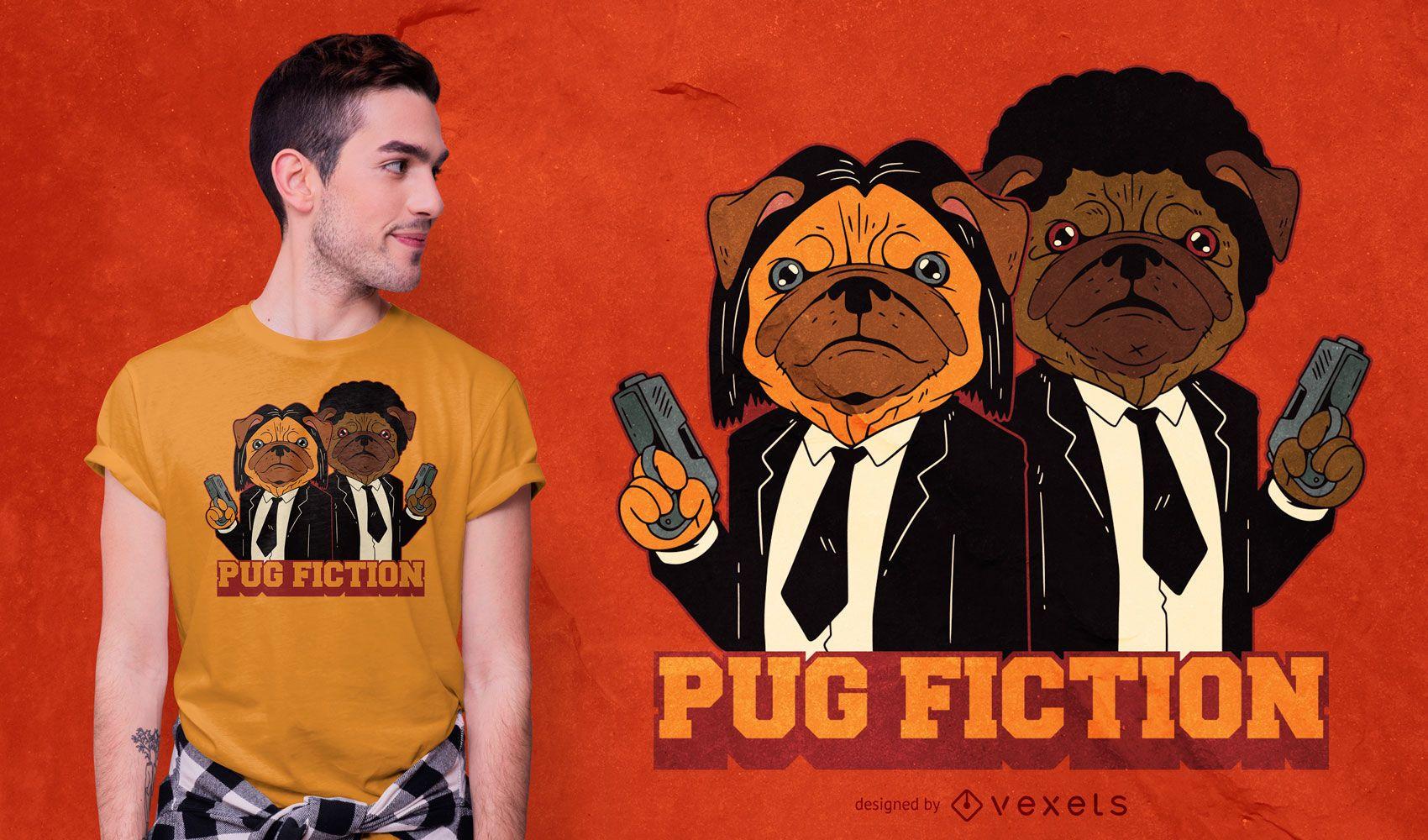 Pug Fiction Parody Dog T-shirt Design