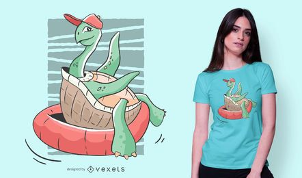 Turtle Floating T-shirt Design