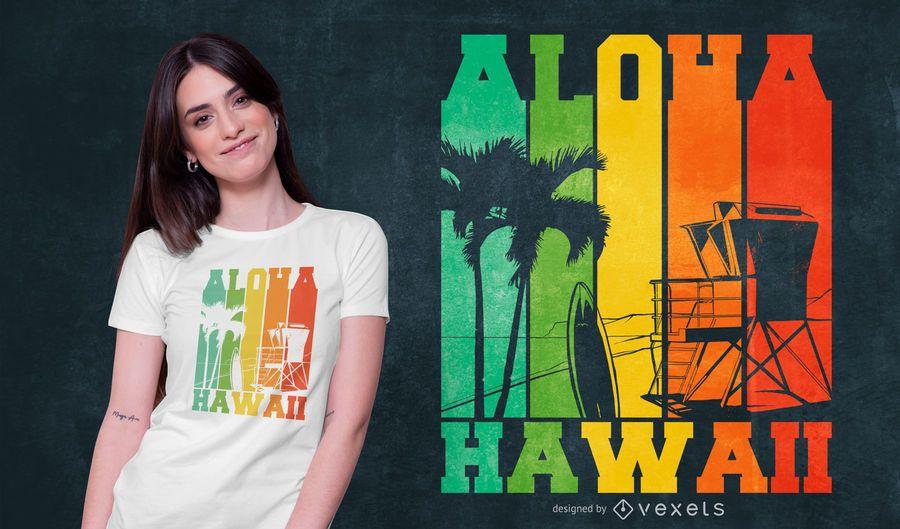 Aloha design colorido do t-shirt de Havaí