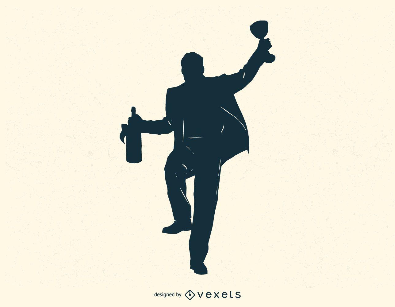 Mann mit Flasche und Trinkglas Silhouette