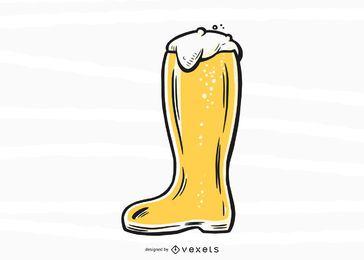 Projeto de ilustração de bota de cerveja