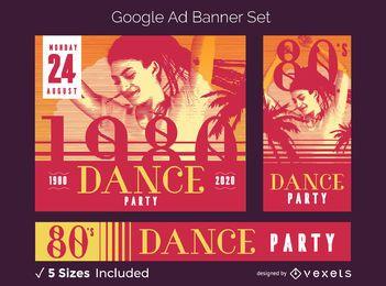 Conjunto de banner de anuncio de fiesta retro