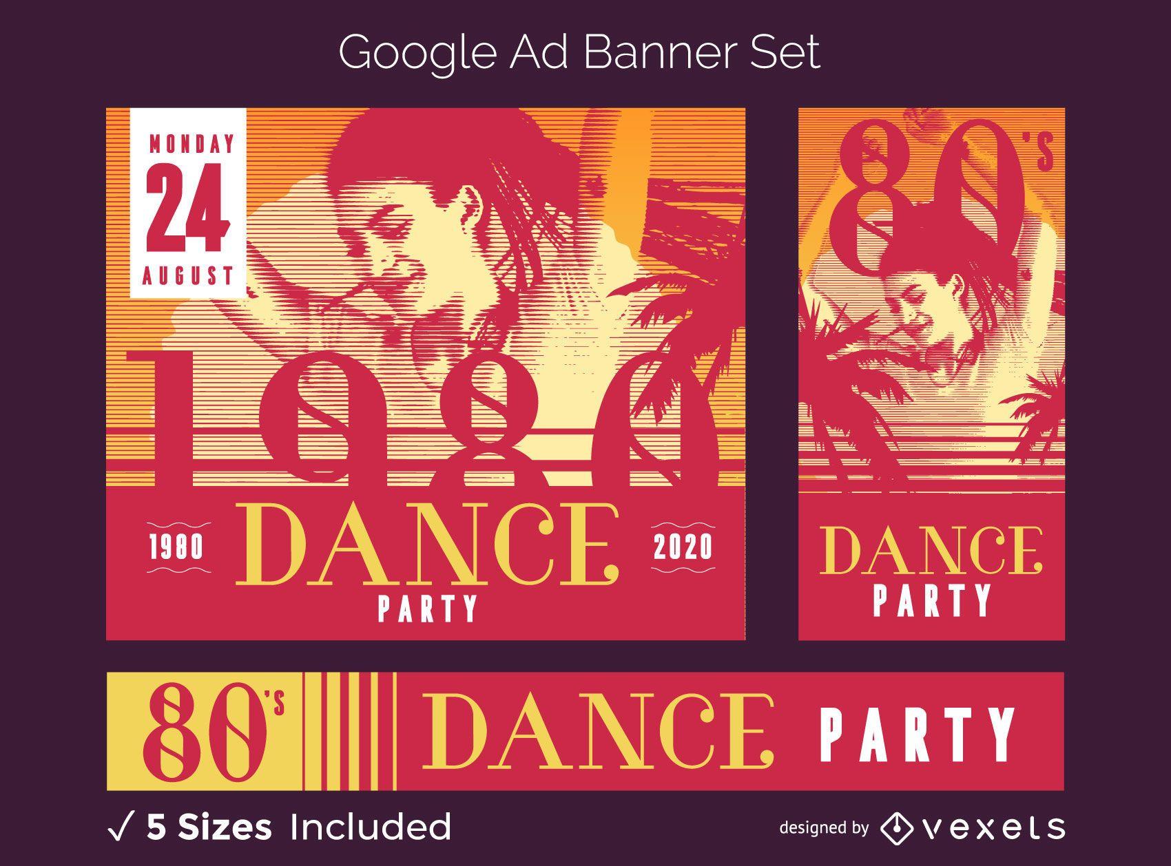 Retro party ad banner set