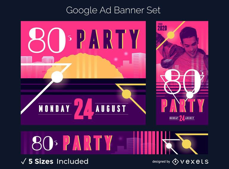 Retro colorful ad banner set